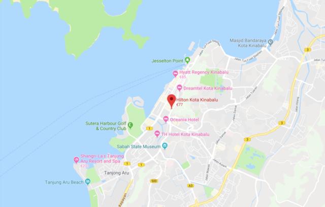 hilton, kota Kinabalu, locatie
