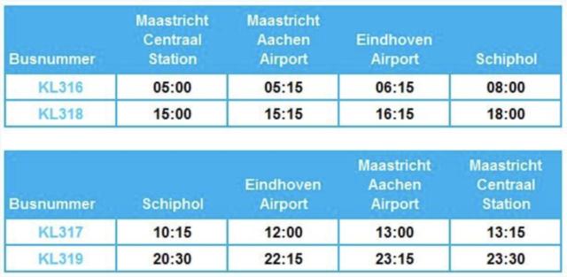 Dienstregeling KLM Bus Maastricht, Eindhoven (Bron: KLM)