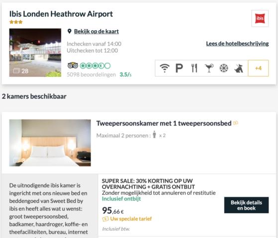 Verblijf bijvoorbeeld in het Ibis London Heathrow Airport met 30% korting en gratis ontbijt (Bron: AccorHotels)