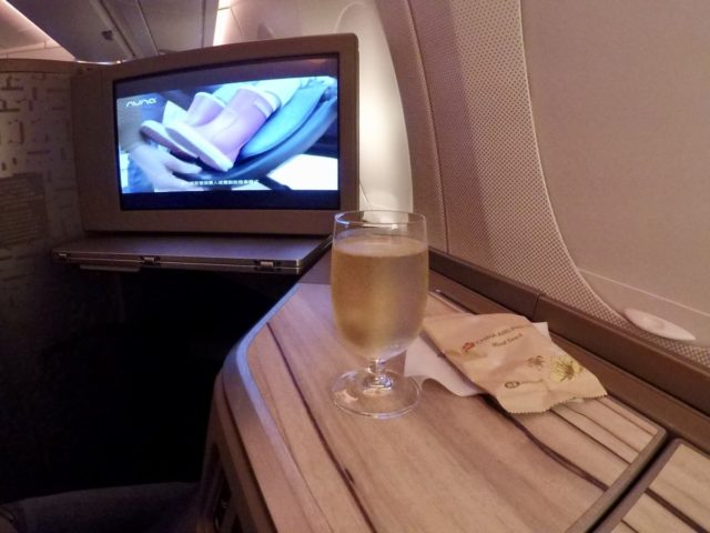 china airlines, a350, business class, champagne