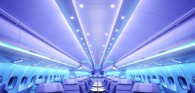 De Airspace cabine uit de A330neo komt ook in de A321XLR (Bron: Airbus)
