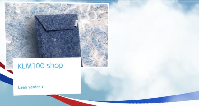 KLM introduceert KLM100 website & shop