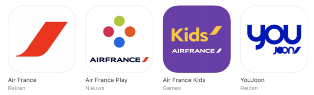 De apps van Air France in de Apple App Store (Bron: iTunes)