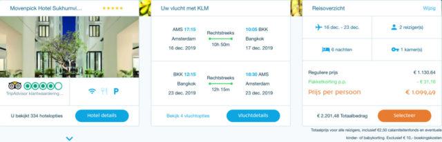 Een reis naar Bangkok (met twee personen) levert je een bonus op van 1.100 Flying Blue miles (Bron: KLM Package Deals)