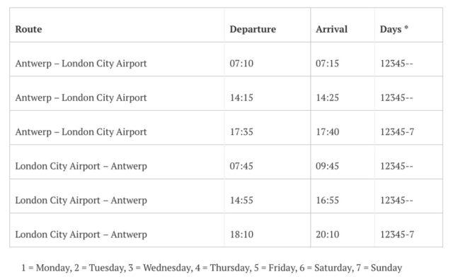 Vliegschema Antwerpen - Londen (Bron: Air Antwerp)