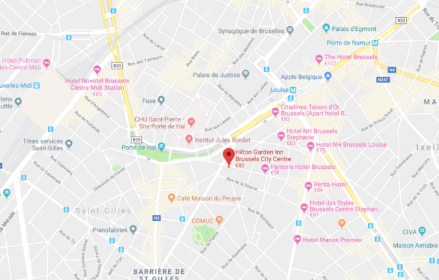 locatie, hilton, garden inn, Brussels city centre