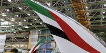 De staart van de nieuwste Boeing 777X van Emirates (Bron: Emirates / Boeing)