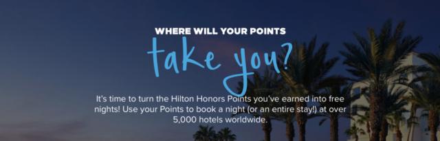 Met de Hilton Points Explorer kun je snel zien waar je je punten aan uit kunt geven (Bron: Hilton)
