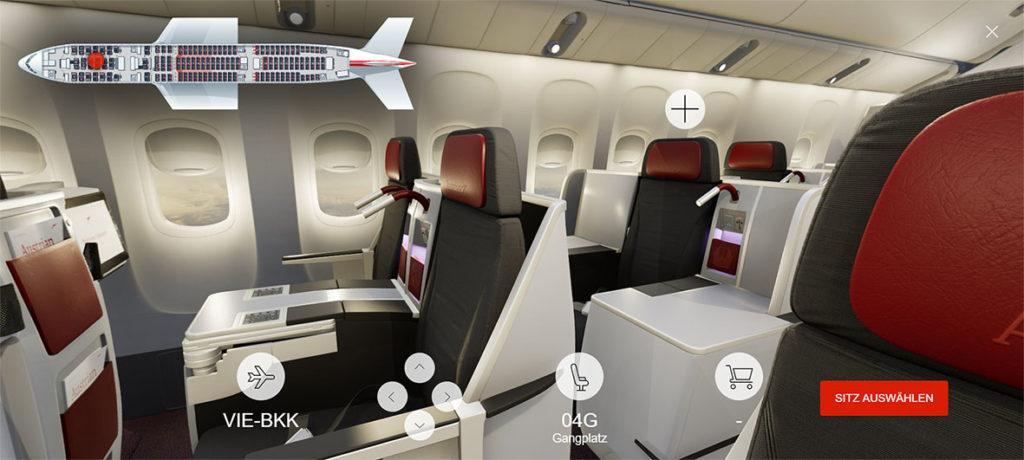 Zo ziet de 3D seatmap van de Boeing 777-200 van Austrian Airlines eruit (Bron: Austrian Airlines)