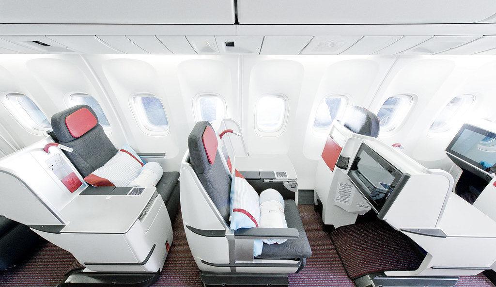 Business class cabine van Austrian Airlines (Bron: Austrian Airlines)