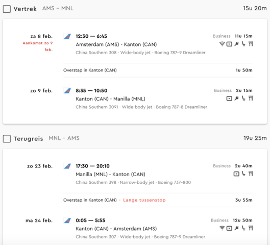 business class deal Amsterdam naar Manilla