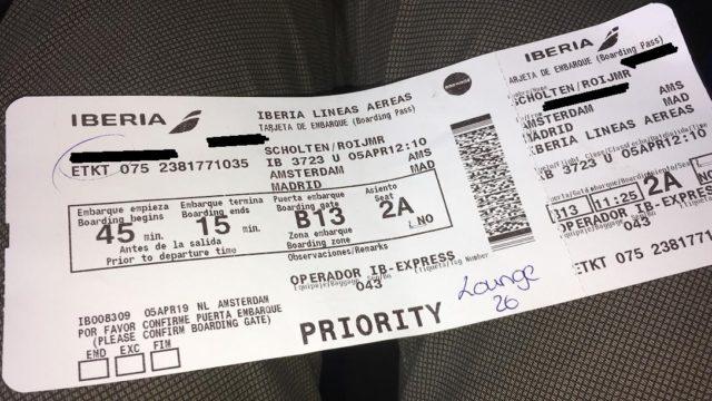 Boarding pass; Iberia
