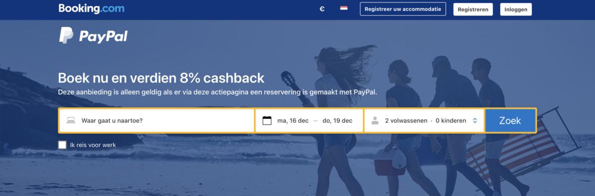 Verdien 8% cashback als je betaalt met Paypal bij Booking.com (Bron: Booking.com)