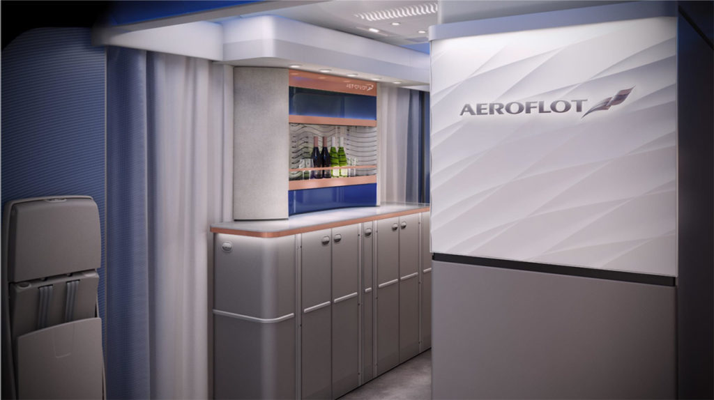 De Bar in de Business Class cabine van de A350 van Aeroflot (Bron: Aeroflot / InsideFlyer NO)