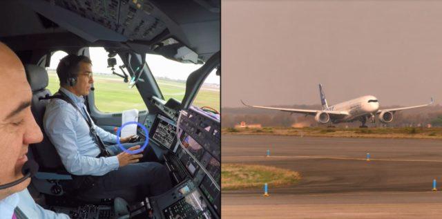 Twee piloten monitoren hoe het toestel reageert. Normaal zou de piloot beide handen nodig hebben om het toestel te besturen, nu is dat niet het geval. (Bron: Airbus)