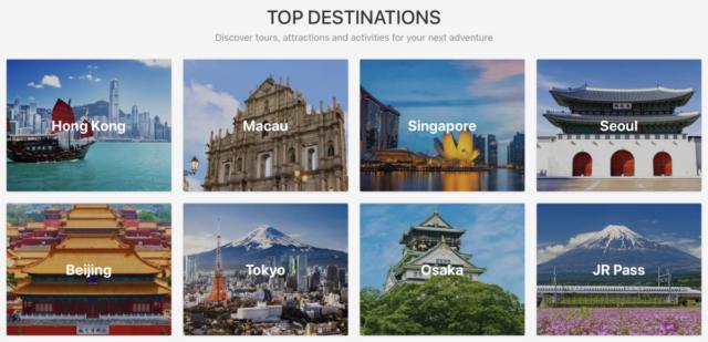 Populaire bestemmingen voor activiteiten van Klook (Bron: Klook.com)