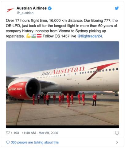 Austrian Airlines tweet