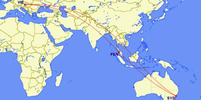map Austrian Airlines