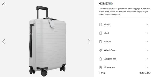 Je kunt de Horizn ID koffers zelf samenstellen op de website (Bron: Horizn Studios)
