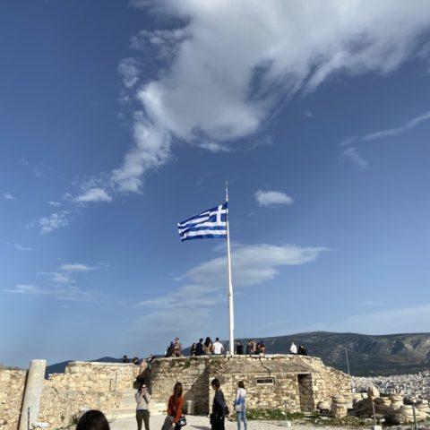 Griekse vlag bij Akropolis Athene