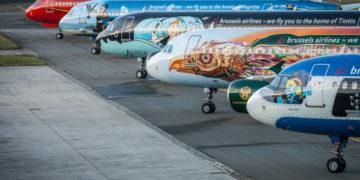Enkele Airbus A320 toestellen geparkeerd op Brussels Airport (Bron: Brussels Airlines)