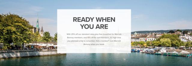 Bespaar op je verblijf bij Marriott met 'Ready When You Are'.