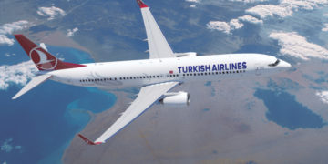 Boeing 737 van Turkish Airlines boven de Rode Zee (Bron: Turkish Airlines)