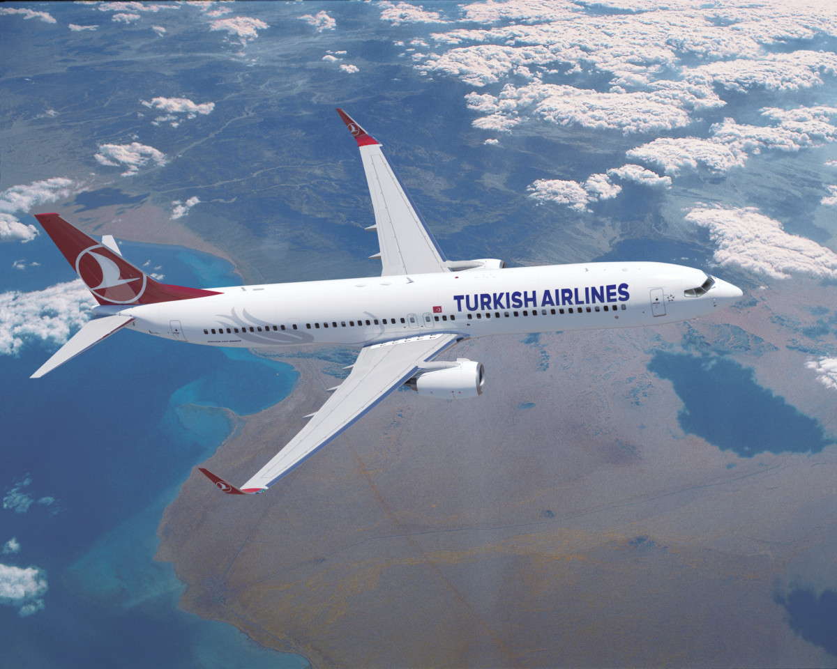Turkish Airlines Boeing 737 over the Red Sea (Source: Turkish Airlines)