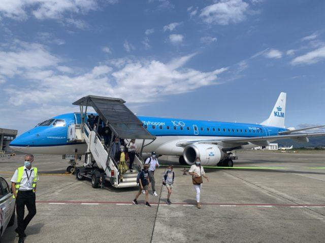 De vlucht vanuit Amsterdam komt mooi op tijd aan in Florence (Bron: eigen foto)