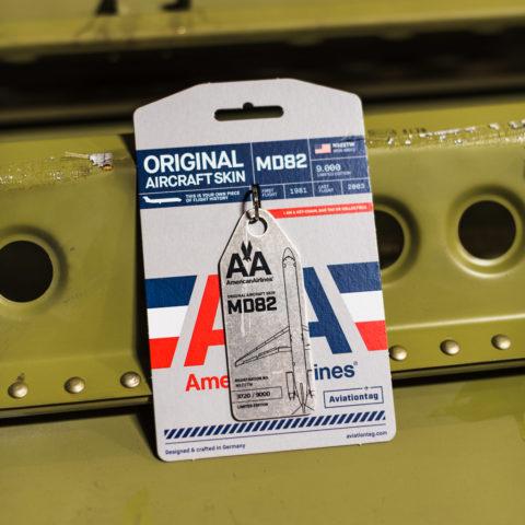 Aviationtag (in verpakking) gemaakt van de MD82 van American Airlines (N-922TW) (Bron: Aviationtag)
