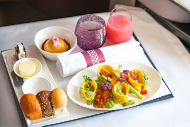 Qatar Airways Vegan Maaltijden