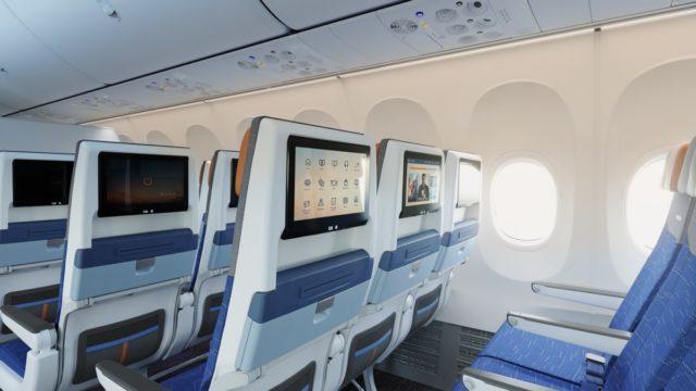 Economy Class cabine aan boord van de Boeing 737 MAX 8 van FlyDubai (Bron: FlyDubai)