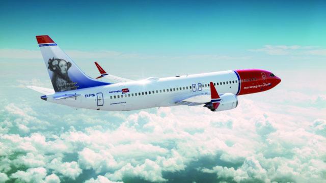 Boeing 737 MAX 8 van Norwegian met Ada Lovelace op de staart (Bron: Norwegian)