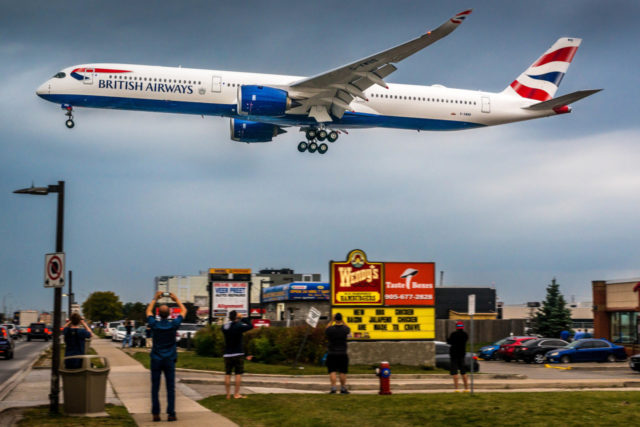 Airbus A350 van British Airways landt op de luchthaven van Toronto Pearson (Bron: British Airways)