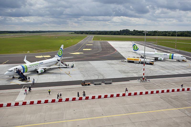 Toestellen van Transavia op de luchthaven van Groningen (Bron: Groningen Airport)