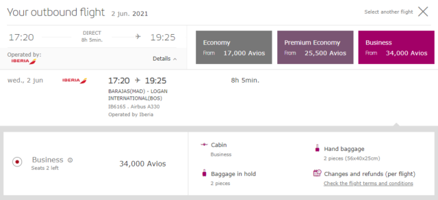 Iberia Business Class ticket